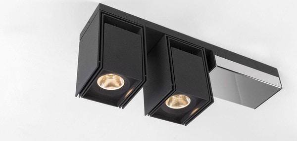 Modular Lighting Rektor 2x LED Warm Dim Tre Dim GI MO 14249064 Black structured / Chrome