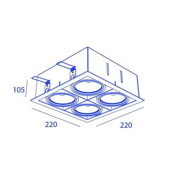 Orbit Piccolo Frame Square 4x COB LED OR 95203D1230DW Grey / Black